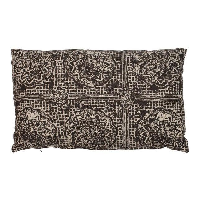Raoul Textiles Brown Block Print Lumbar Pillow For Sale