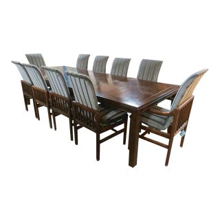 Henredon Walnut Parquetry Top Dining Set For Sale