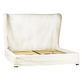 Ari White Fabric Eastern King Bed For Sale