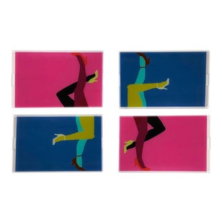 Pump It Up Royal and Berry by Angela Blehm Trays, Set of 4 For Sale