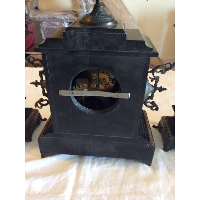 French Black Marble Mantle Clock With Candelabras For Sale - Image 9 of 11