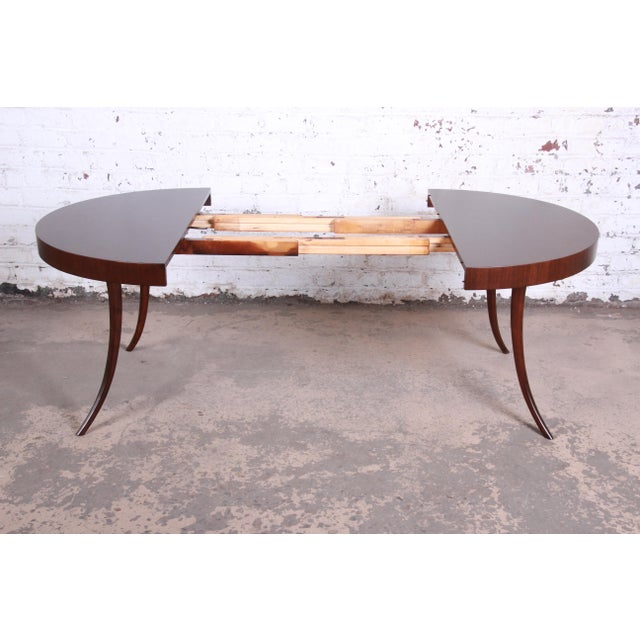 Wood Robsjohn-Gibbings for Widdicomb Mid-Century Modern Walnut Saber Leg Extension Dining Table, Newly Restored For Sale - Image 7 of 13