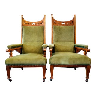 Late 19th Century English Arts & Crafts Pierced Oak Low Fireside / Library Armchairs - a Pair For Sale