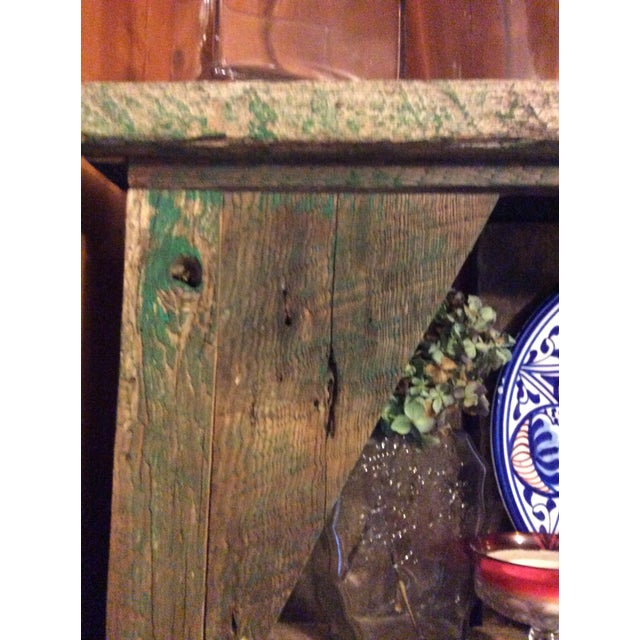 Late 19th Century Primitive Wood Green Hutch For Sale - Image 5 of 13