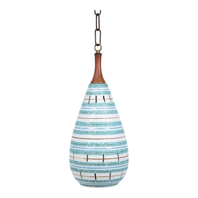 Italian Stripe Ceramic Pendant Chandelier For Sale