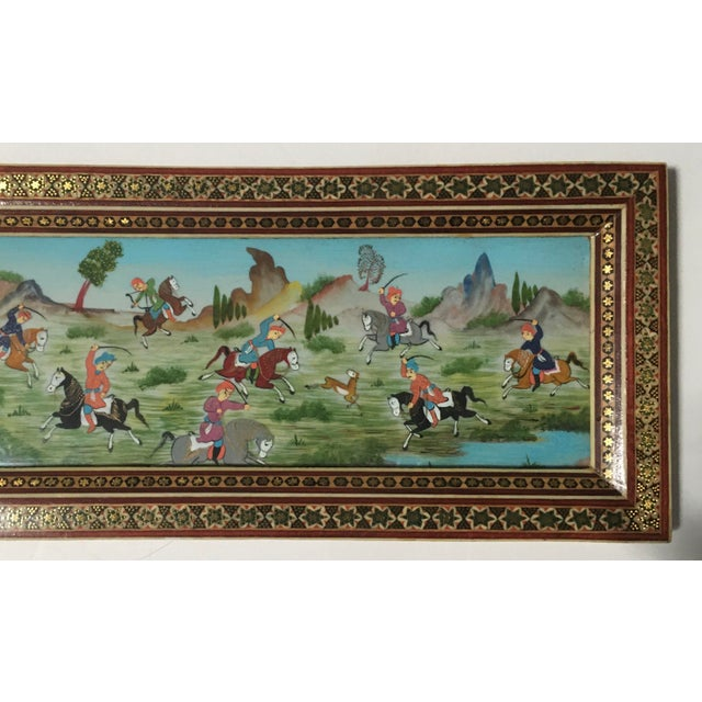 Islamic Vintage Persian Painting of Battle Scene in Marquetry Frame For Sale - Image 3 of 5