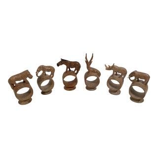 Vintage Hand Carved Wooden Safari Animal Napkin Rings - Set of 6 For Sale