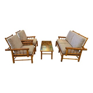 Antique Bamboo Seating Set, With Loveseat, Chairs and Table, France, Circa 1900 - Set of 4 For Sale