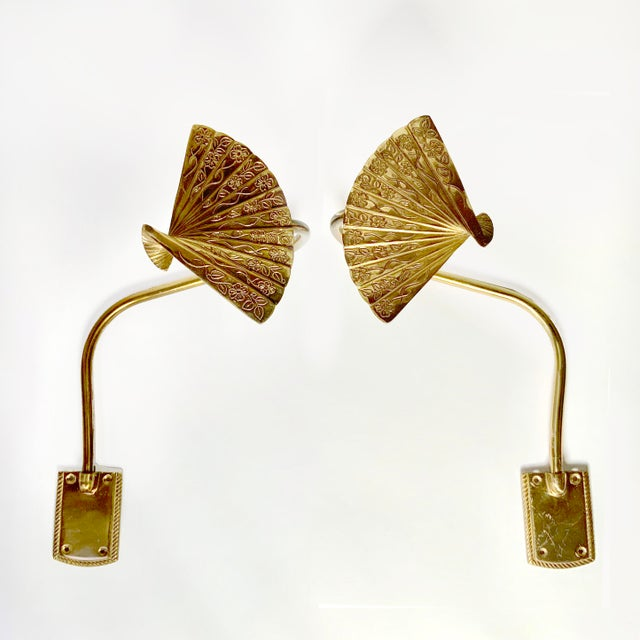 Bronze Chinoiserie Fan Motif Curtain Tie Back Hooks For Sale - Image 4 of 4