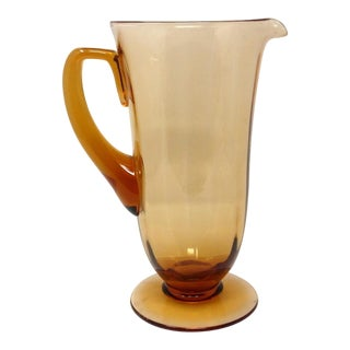 1920s Fostoria Amber (#5093) Glass Water Pitcher For Sale