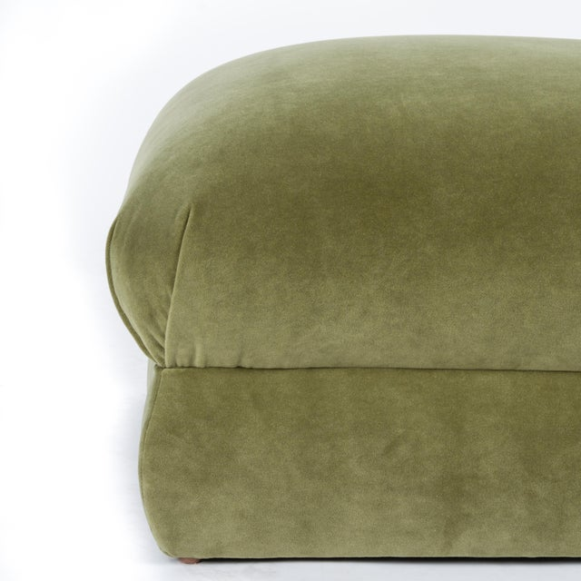 English Casa Cosima Milan Ottoman in Olive Velvet For Sale - Image 3 of 6