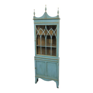 Blue & Gold Corner China Cabinet For Sale