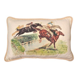 Horses Over the Fence Linen Equestrian Pillow For Sale