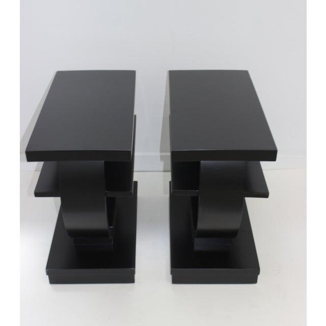 Black Modernage Brown Saltman Side Tables Art Deco 1930s 3-Tiers Ebonized - a Pair For Sale - Image 8 of 13