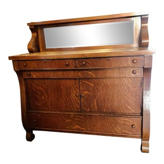Antique Victorian Tiger Oak Empire Style Sideboard For Sale