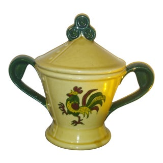 Metlox Poppytrail Green Rooster Lidded Sugar Bowl For Sale