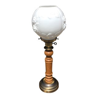 Mid-Century Turned Wood & Brass Globe Lamp With Milk Glass Diffuser For Sale