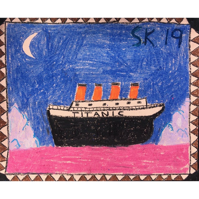 Abstract 'Titanic' Oil Pastel Drawing by Sean Kratzert For Sale - Image 3 of 3