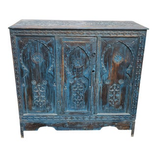 Moroccan Carved Berber Style Wooden Cabinet For Sale