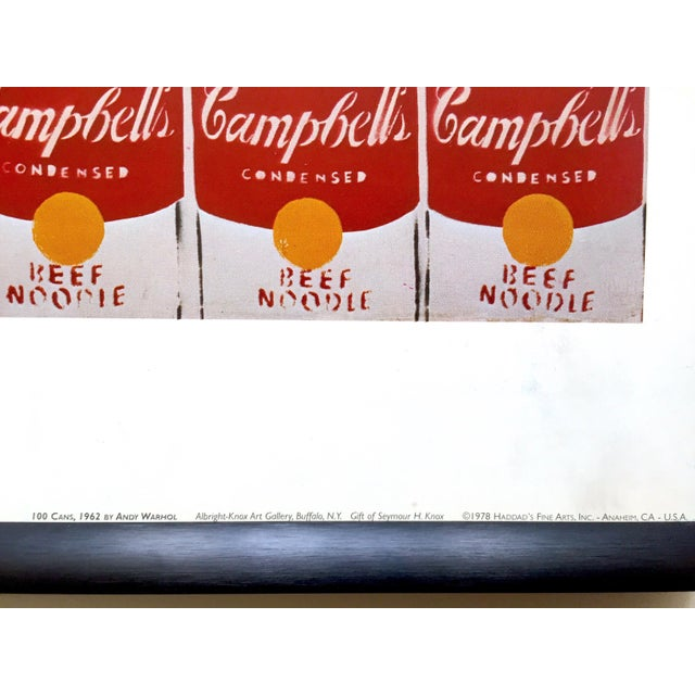 """Andy Warhol Rare Vintage 1978 Iconic Lithograph Print Framed Collector's Pop Art Poster """" 100 Cans """" 1962 For Sale - Image 11 of 13"""