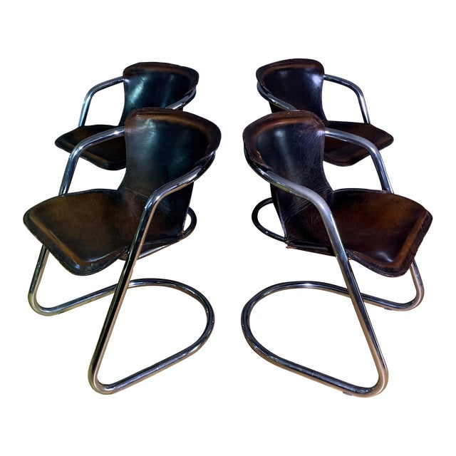 Vintage Willy Rizzo Dining Chairs for Cidue, Italy 1970s For Sale