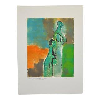 "Arthur J. Krakower ""Mama and Pauline at Long Beach"" Monotype C.2005 For Sale"