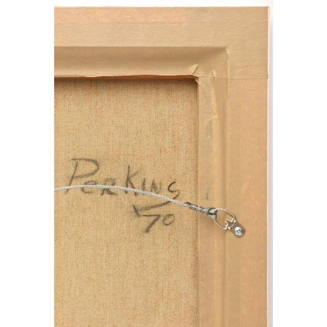 Blue Signed Philip Perkins Vintage Cubist Painting For Sale - Image 8 of 9