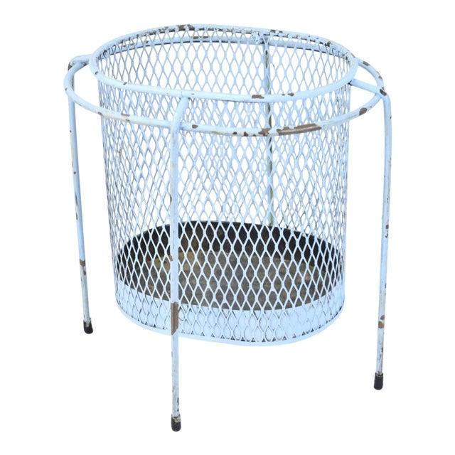 Circa 1953 Maurice Duchin Iron Mesh Mid-Century Modernist Waste Basket For Sale