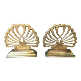 Vintage Brass Lotus Water Lily Art Deco Bookends - A Pair