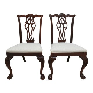 1990s Vintage Ethan Allen Chippendale Style Dining Chairs - A Pair