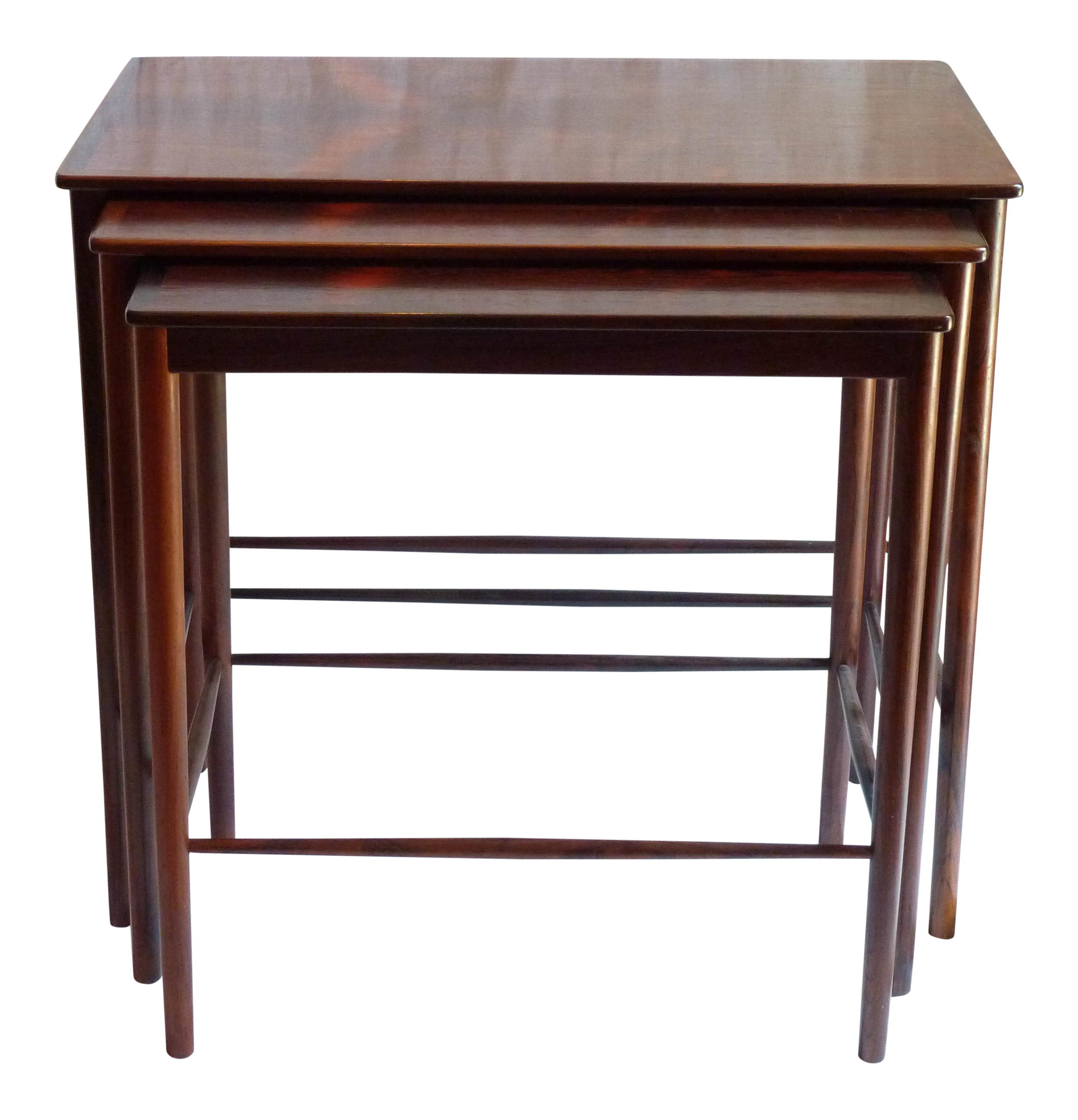 Exceptional Grete Jalk Mid Century Rosewood Nesting Tables   Set Of 3