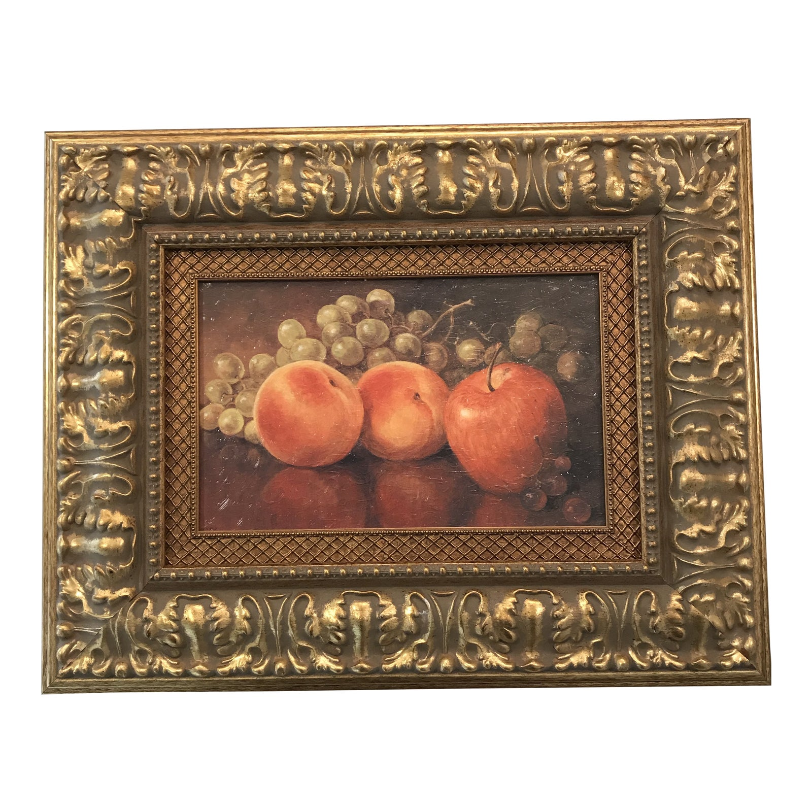 Still Life Kitchen Wall Decor Framed Picture Grapes and Apples Wine /& Fruit