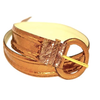 Yves St. Laurent Copper Python Belt For Sale