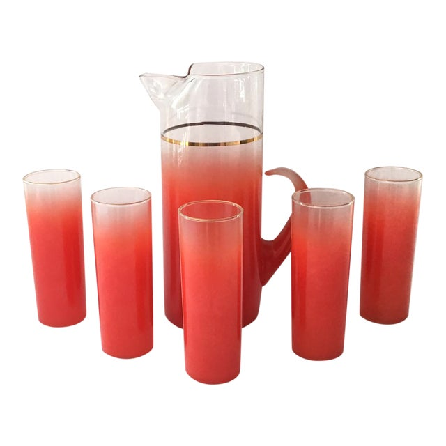 Blendo Glass Pitcher Set With 5 Tom Collins Glasses in Rare Red - Image 1 of 7
