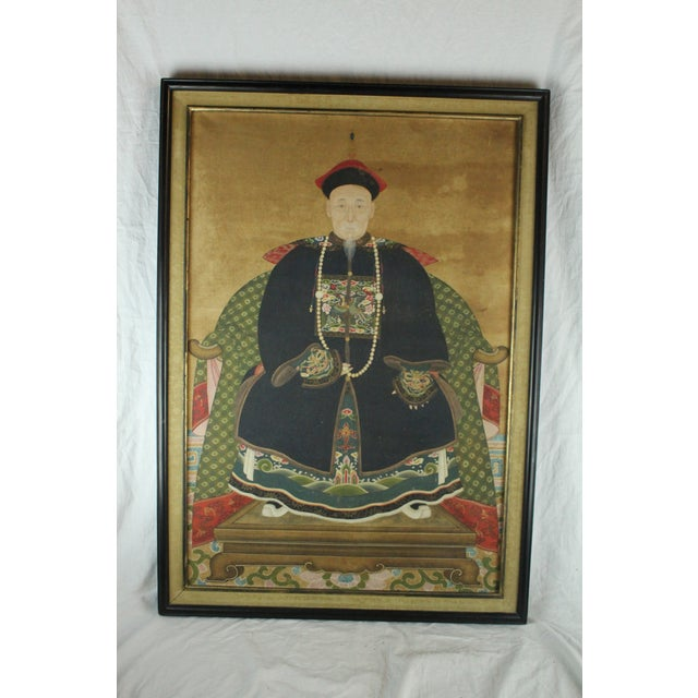 Early 20th Century Antique Chinese Ancestor Painting For Sale - Image 4 of 4