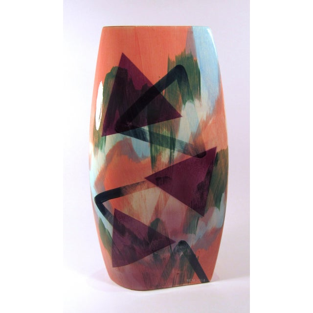 A vintage 1989 glazed ceramic vase by John Bergen Studio of Canada. If this vase isn't the epitome of 1980s decor, I don't...