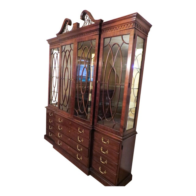 Henredon Rittenhouse Mahogany Chippendale Style Breakfront Cabinet For Sale