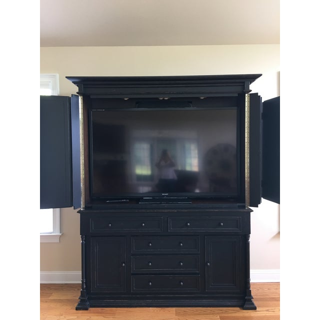 Plasma TV Cabinet - Rustic Black Finish