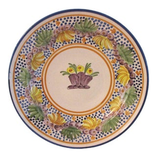 1970s Vintage Spanish Pottery Hanging Wall Platter For Sale