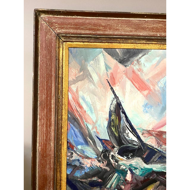 Large Vintage Oil on Canvas Signed Charles Melohs Seascape Nautical Scene Painting Framed For Sale - Image 4 of 8