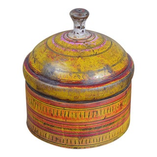 Antique Turned and Decorated Wooden Afghan Spice Box For Sale