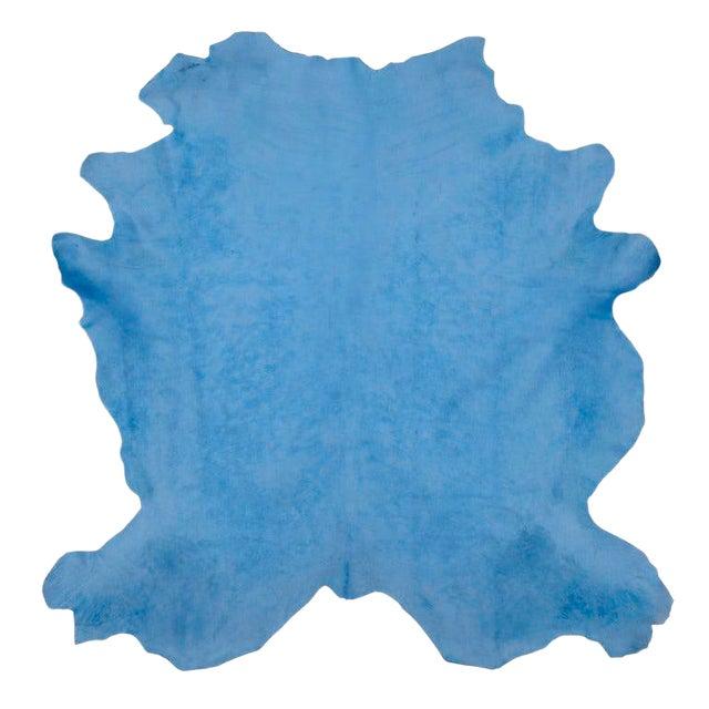 Celeste Blue Cow Hide Rug - 7′ × 8′ For Sale