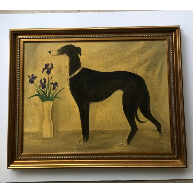 Vintage Original Classic Greyhound Portrait Painting With Irises For Sale In Philadelphia - Image 6 of 6