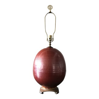 Chinoiserie Red Glazed Ceramic Table Lamp For Sale