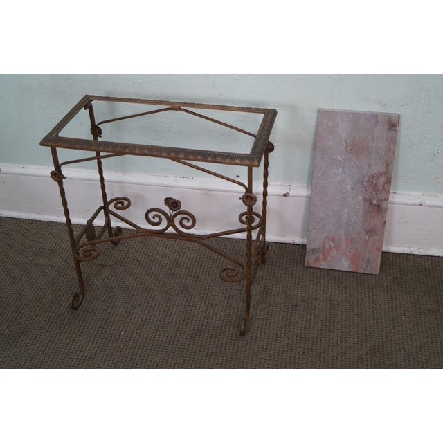 Antique Wrought Iron Marble Top Side Table - Image 9 of 10