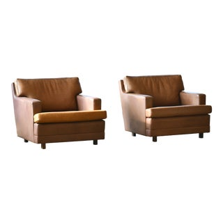 Pair of Buffalo Leather Lounge Chairs by Arne Norell Scandinavian Mid-Century For Sale