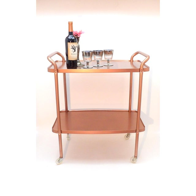 Mid-Century Modern Rose Gold Rolling Bar Cart For Sale - Image 4 of 10