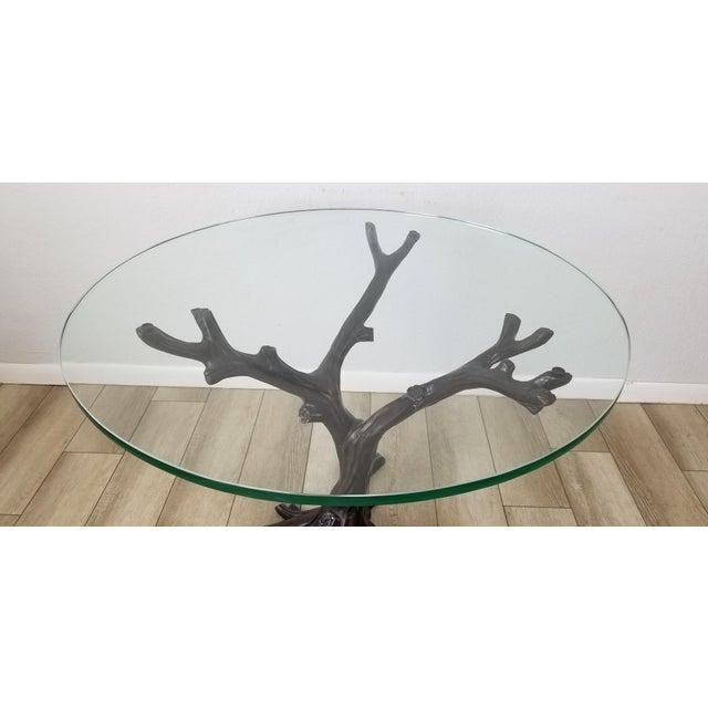Brown Vintage Sculptural Faux- Bois Bronze Dining Table . For Sale - Image 8 of 13