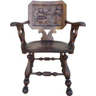 French Antique Oak Pub Armchair For Sale