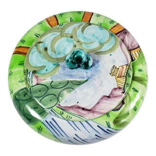 Mid 20th Century Hand Painted Italian Majolica Lidded Bowl For Sale